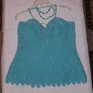 Women's Aqua crop-top with beading